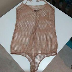 Zara Nude Mesh Camisole Bodysuit Sz S